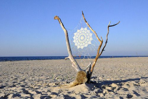 Lace instillations along Oak Beach, Baltic Sea by NeSpoon: www.behance.net/nespoon