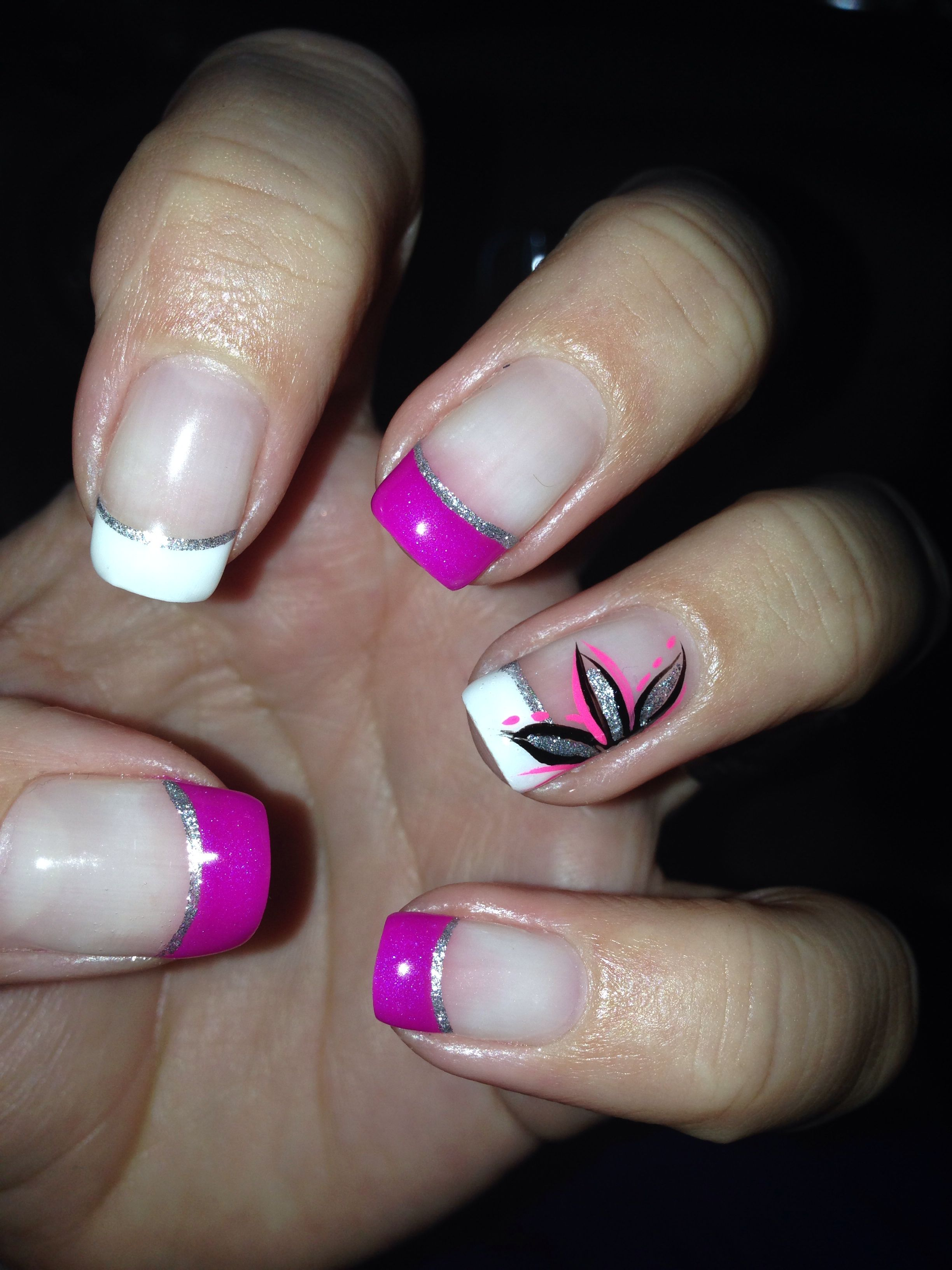 Pink White Gel Nail Design With Pretty Flower Nail Designs My