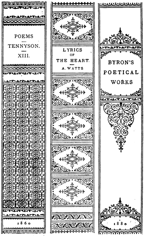 Line Drawings Of Three Book Spines 1 Poems Tennyson Xiii 1860 2 Lyrics Of The Heart A Watts 3 Byron Book Cover Diy Bookbinding Vintage Book Covers