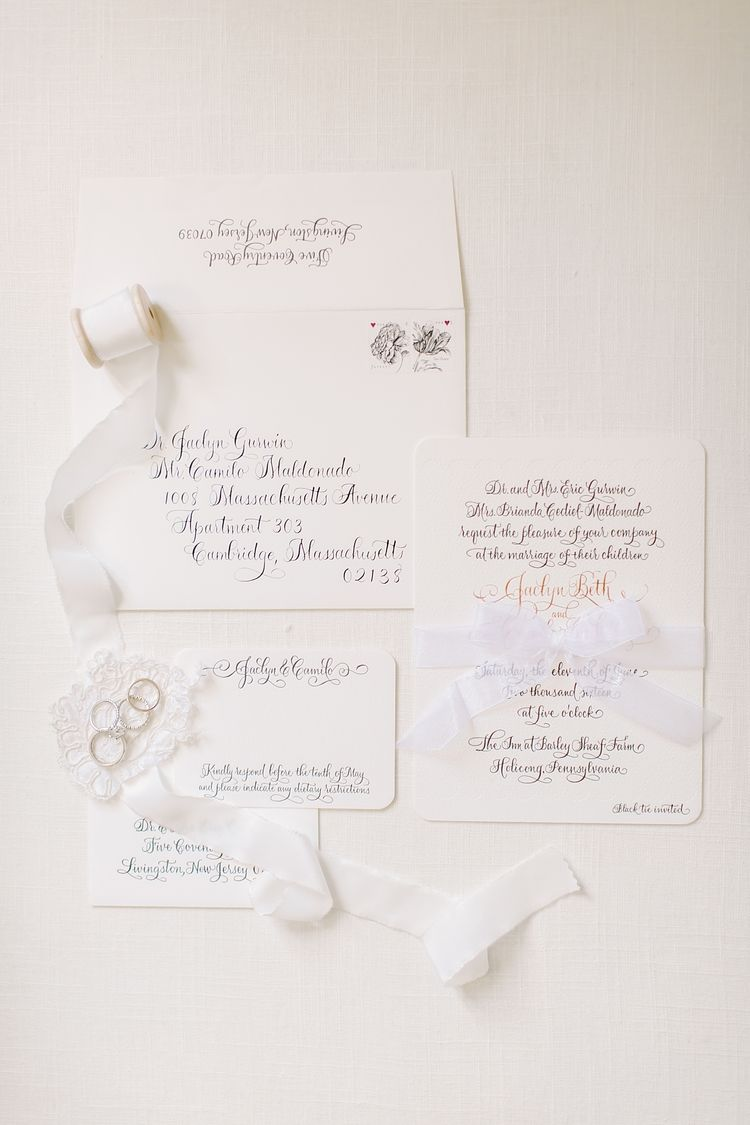 Inn At Barley Sheaf Farm Wedding White Wedding Invitations
