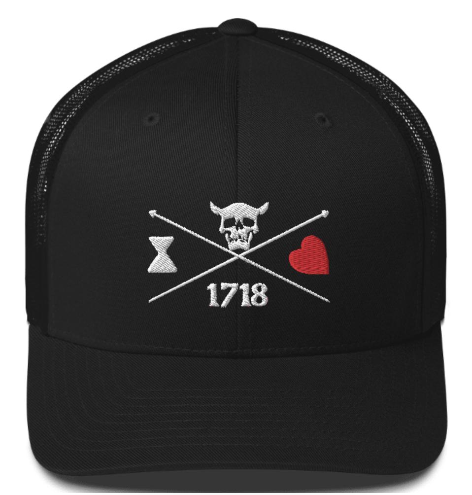 Blackbeard 1718 Trucker Hat Blackbeard Hat Outer Banks Hat Obx Hats For Men Trucker Hat Black Beard Pirate