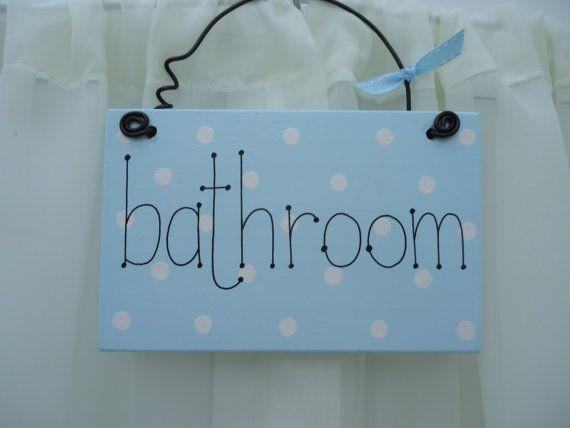 Handmade 'Bathroom' wooden plaque on Etsy, £6.50