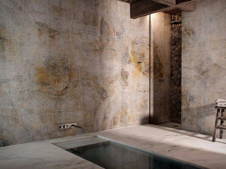 Vliestapete Badezimmer ~ Moderne wandgestaltung im badezimmer fototapete mit wasserfall