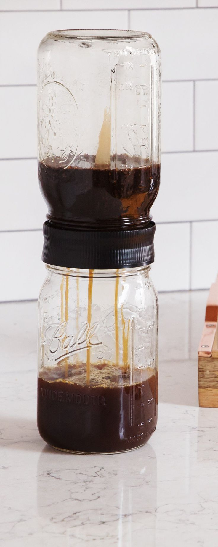 Cold Brew Mason Jar Filter is part of Cold Brew Mason Jar Filter By Bruw The Grommet -  Made in the USA West Bloomfield, MI Materials High Density Polyethylene (HDPE), stainless steel, vinyl  Care Hand wash with soap and warm water  Filters coffee grounds  Unique filtration system  Filter fits any standard widemouth mason jar  For use with mason jars only  Please note Mason jars not included  Dimensions 3 5  diameter x 1 25  Weight 0 5 lb