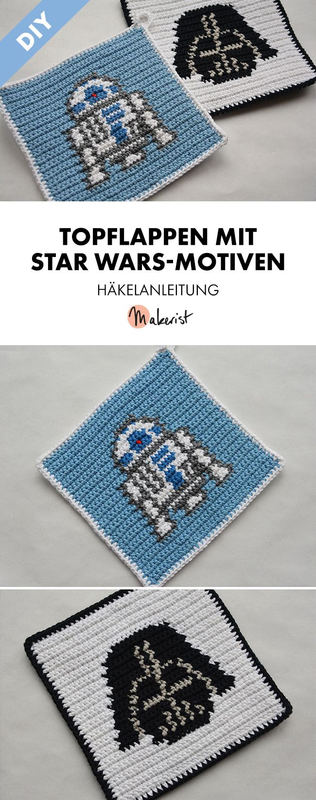 Stylishe Topflappen mit Star Wars-Motiven für Nerds und Fans - Häkelanleitung via Makerist.de  #häkelnmitmakerist #häkeln #häkelnisttoll #häkelanleitung #starwars #r2d2 #darthvader #fan #nerd #nerdy #merch #movie #küche #kitchen #topflappen #crochetturtles