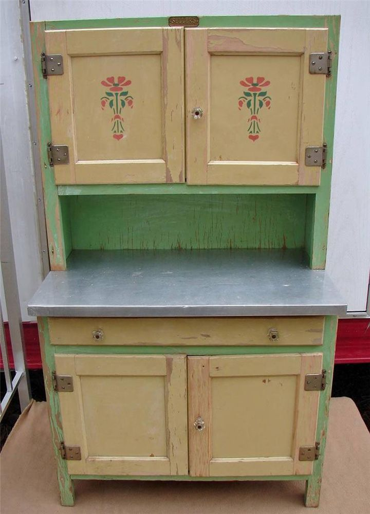 1930 S Sellers Junior Kitchen Cabinet Ivory Mint Green Enamel