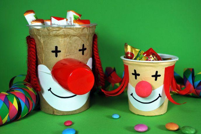 clowns aus joghurtbechern boh c 2 karneval basteln. Black Bedroom Furniture Sets. Home Design Ideas