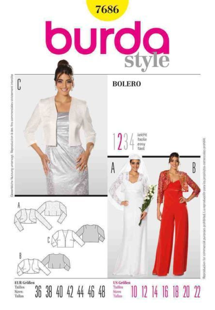 Burda 7686 Sewing Pattern Evening Wedding Bolero Jacket Ladies Size ...