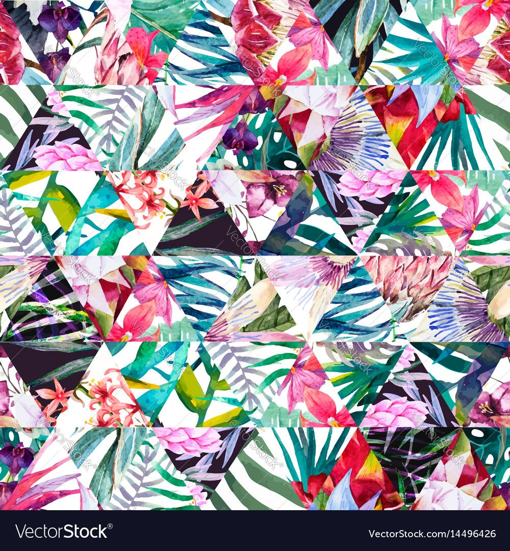 Beautiful vector pattern with hand drawn watercolor - High resolution watercolor flowers ...