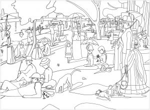 Coloring page inspired by a master piece by george seurat for Seurat coloring pages
