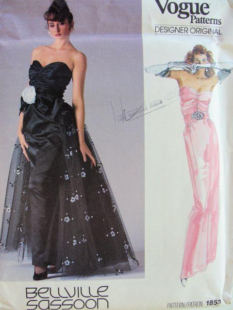 1980s bellville sassoon gorgeous evening dress pattern