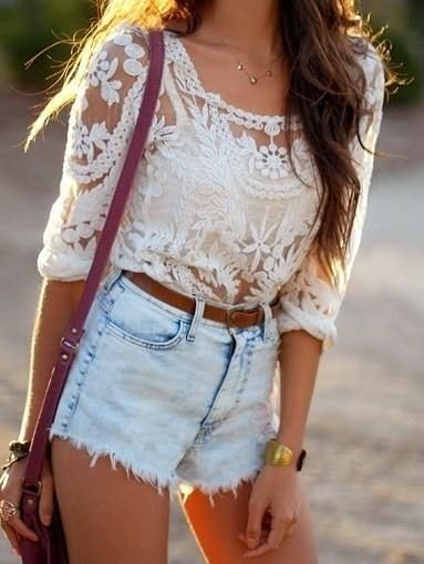 High ride shorts and lace tops... WHY AM I SO OBSESSED?!?