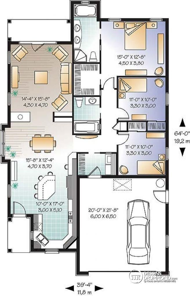 Plan de Rez-de-chaussée Style crafstman et Floride, 3 chambres, gar