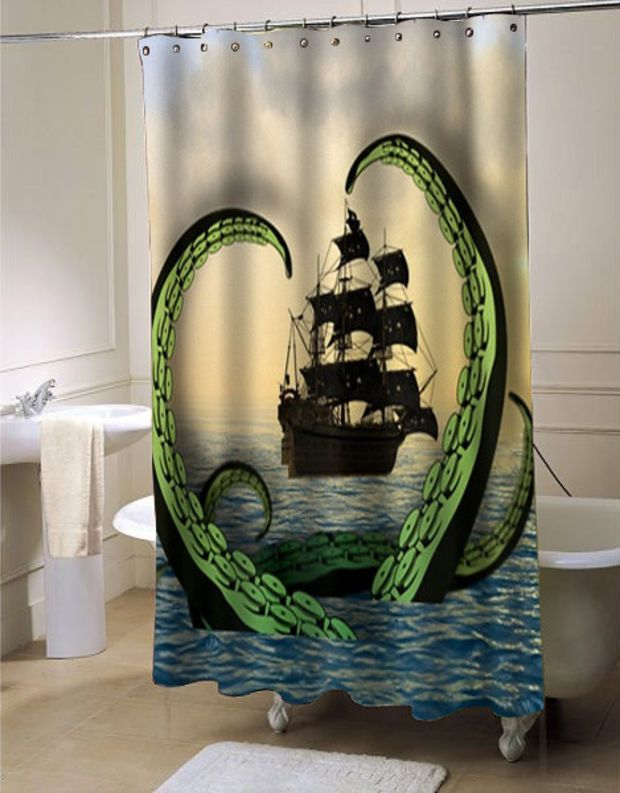 Cool Nautical Shower Curtain Octopus Vs Pirate Ship Customized Design For Home Decor