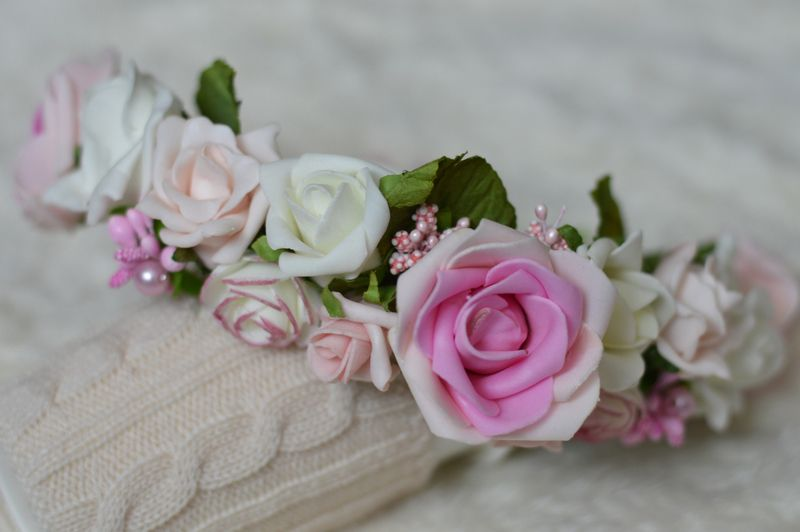 Ozdobny Wianek Na Glowe Piankowe Roze Diy Flowers Rose Diy