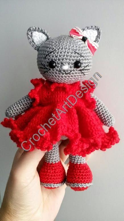 Amigurumi Katze mit Rüschen Kleid 17 cm Groß ( 19 cm mit Ohren ...