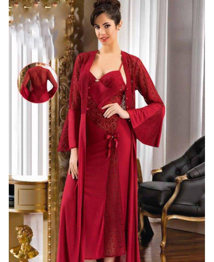 طقم عرائس 6 قطع صباحلك ناعم طويل لون عنابي Xses 3000 Night Dress Red Bridesmaid Dresses Night Gown