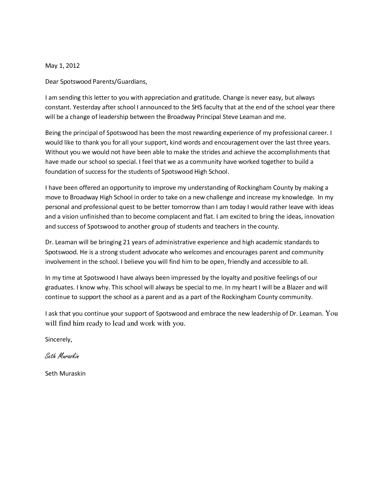 Teacher Resignation Letter To Parents Parent Welcome Letter Template