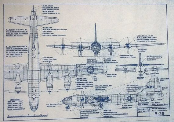 Wonderful 11 x 17 blueprint of the boeing b 29 super fortress wonderful 11 x 17 blueprint of the boeing super fortress bomber made the old fashioned way with ammonia activated paper on a diazit malvernweather Images