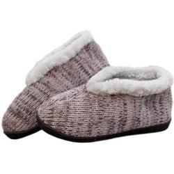 Photo of Knitted slippers with faux fur lining