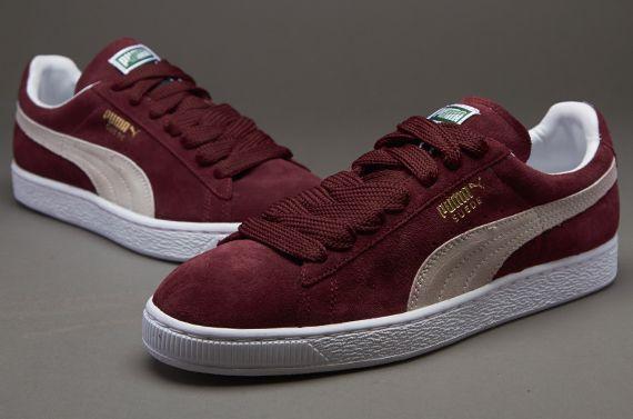 burgundy puma sneakers