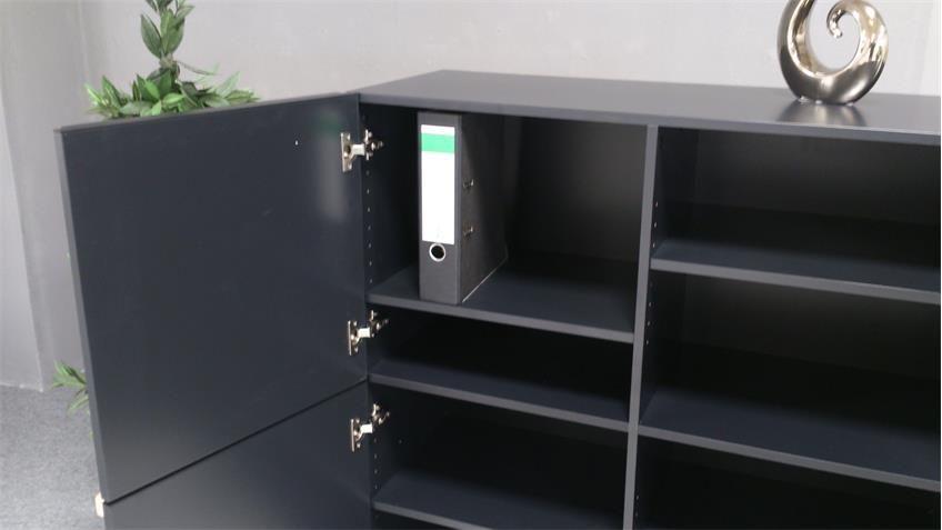 Highboard OBVIOUS Universalschrank Kommode schwarz 4türig