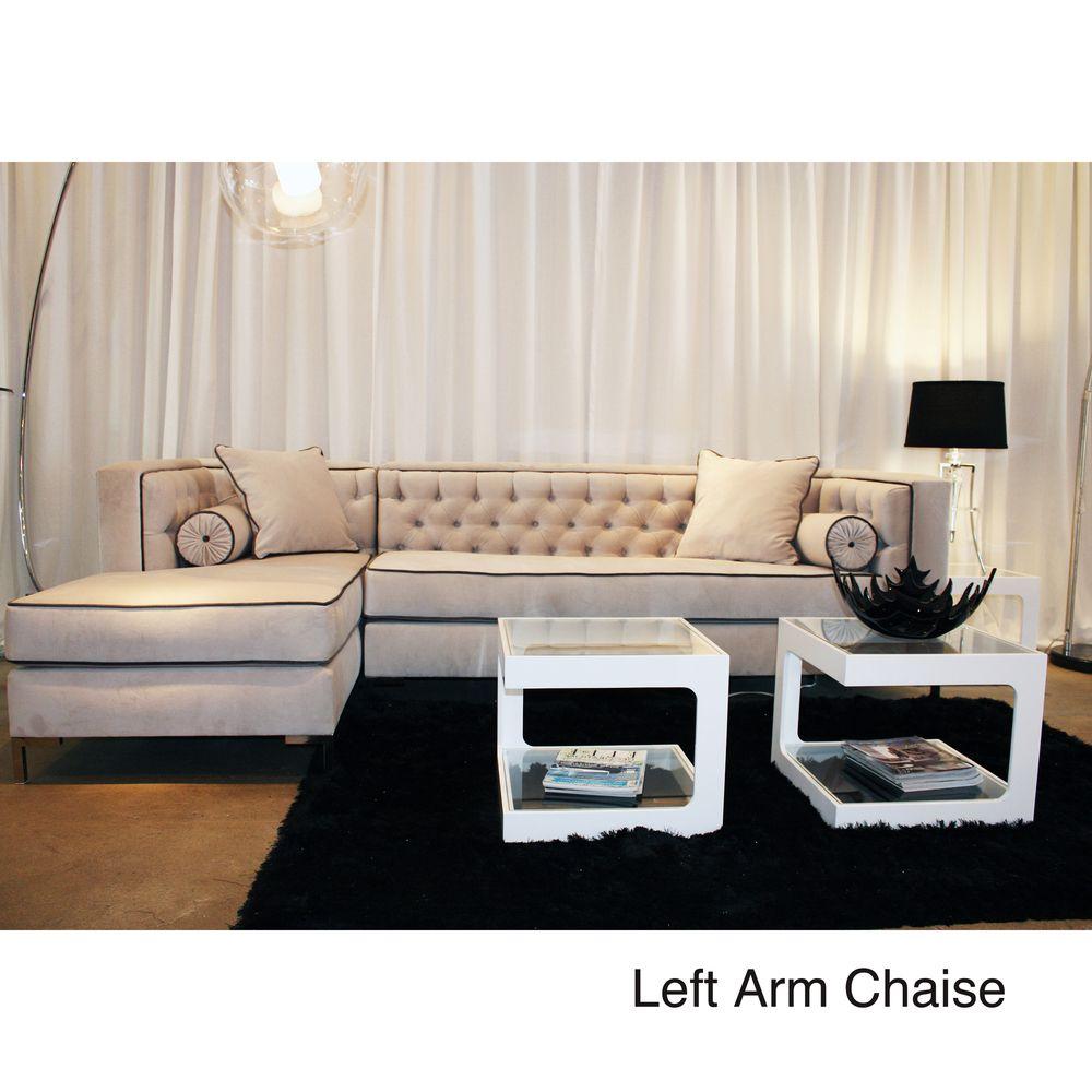 Decenni Custom Furniture 39 Tobias 39 Light Dove Grey Tufted Sectional Sofa By Decenni Custom