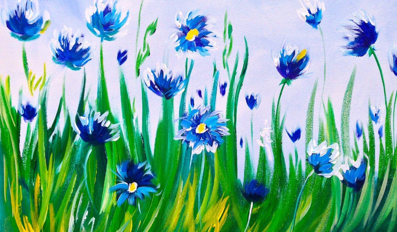 Easy acrylic Painting | Abstract Cornflowers | ASL Art ...