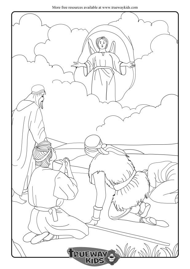 Christmas Bible Coloring Pages angels-announce-the-birth-of-jesus-to - copy coloring pages of joseph and the angel