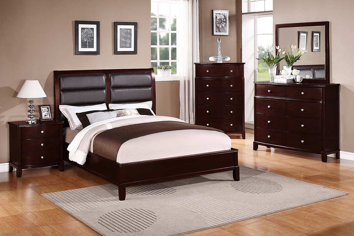 Dark Cherry Queen Bed Orange County Furniture Warehouse F9175