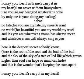 I Carry Your Heart With Me Ee Cummings Poem