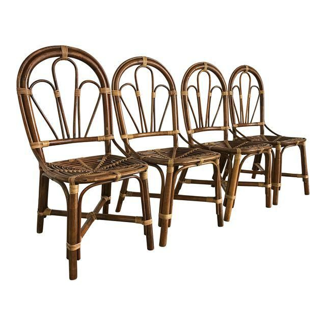 Image Of Vintage Handmade Bamboo Rattan Dining Chairs Set 4