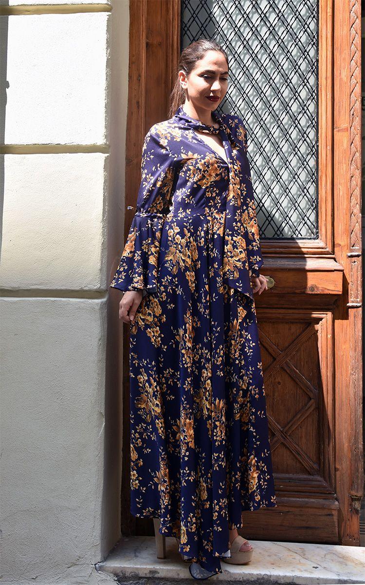 617f614460cc DRESSES DRESS MAXI BLUE FLORAL FW18 2018 FALL WINTER FORMAL ΦΟΡΕΜΑΤΑ ΦΟΡΕΜΑ  ΜΑΞΙ ΜΑΚΡΥ ΜΠΛΕ ΦΛΟΡΑΛ ΕΠΙΣΗΜΟ