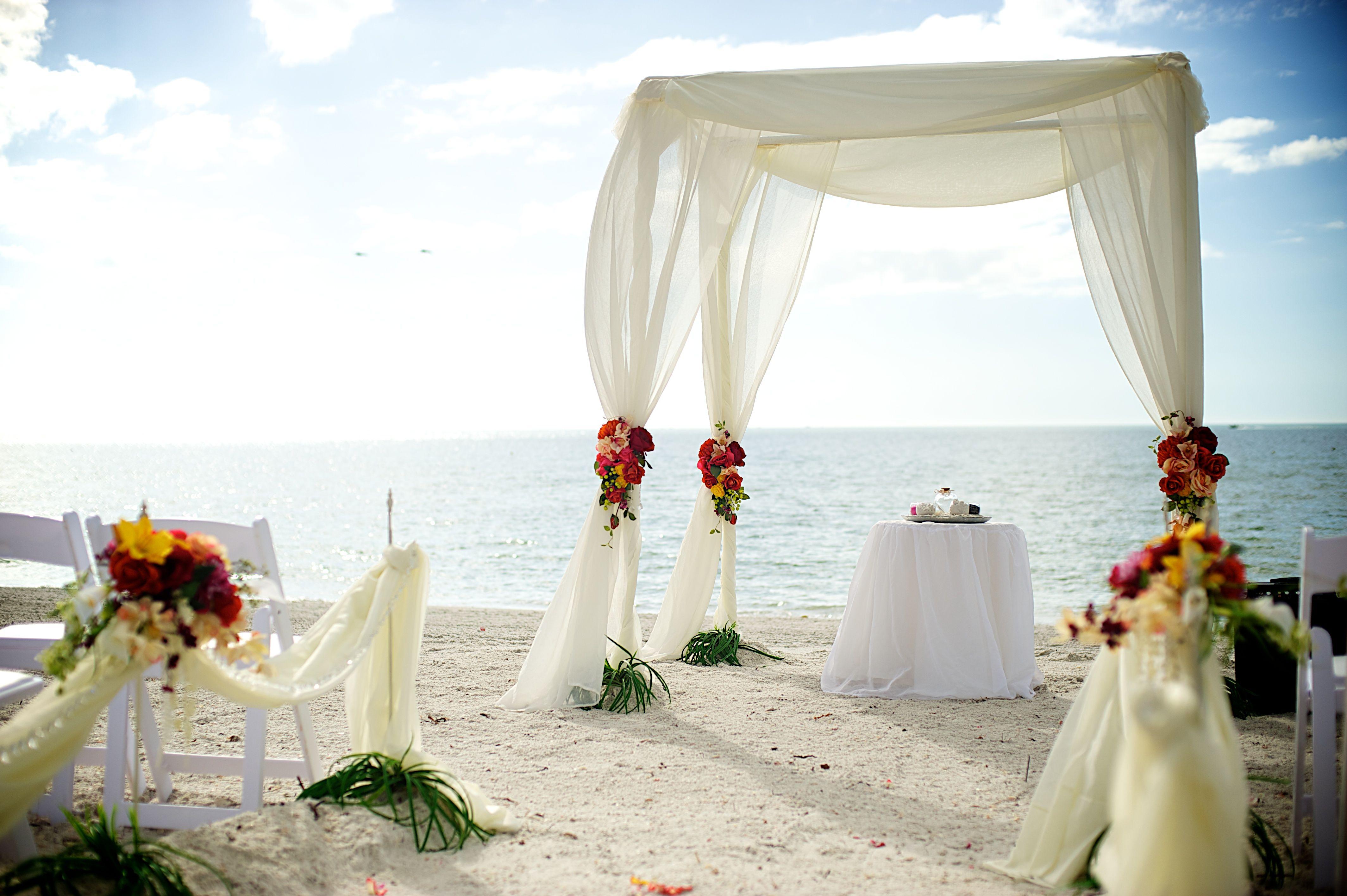 white elegant beach wedding Wedding backdrop