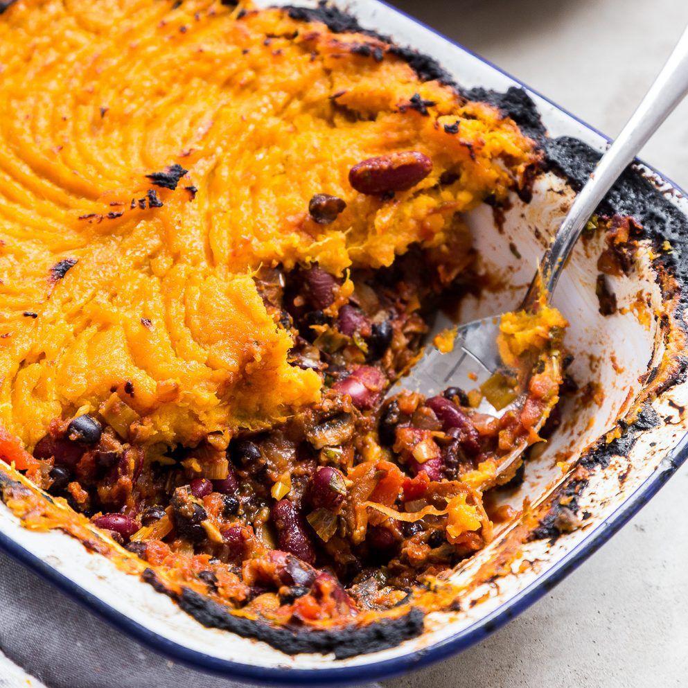 Sweet Potato Black Bean Shepherds Pie Recipe Deliciously Ella Recipe Recipes Sweet Potato Black Beans Vegetarian Dishes