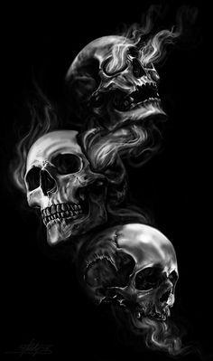 See No Evil Hear No Evil Speak No Evil Speak No Evil See No Evil Hear No Evil Digital Drawing Photoshop Cs6wacom Cintiq Skull Artwork Evil Skull Tattoo Skulls Drawing
