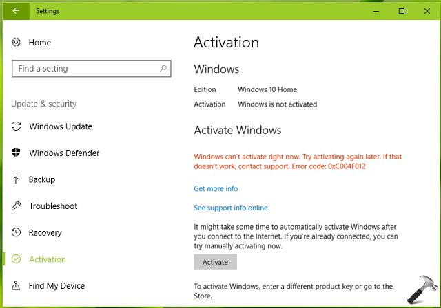 Fix windows 10 activation error 0xc004f012 fix windows 10 activation error 0xc004f012 fixwindowserror ccuart Choice Image