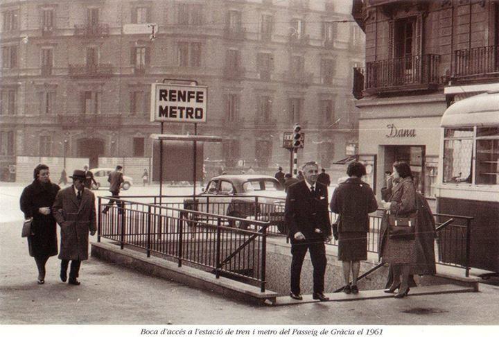 1960 accés baixador Passeig de Gràcia subterrani