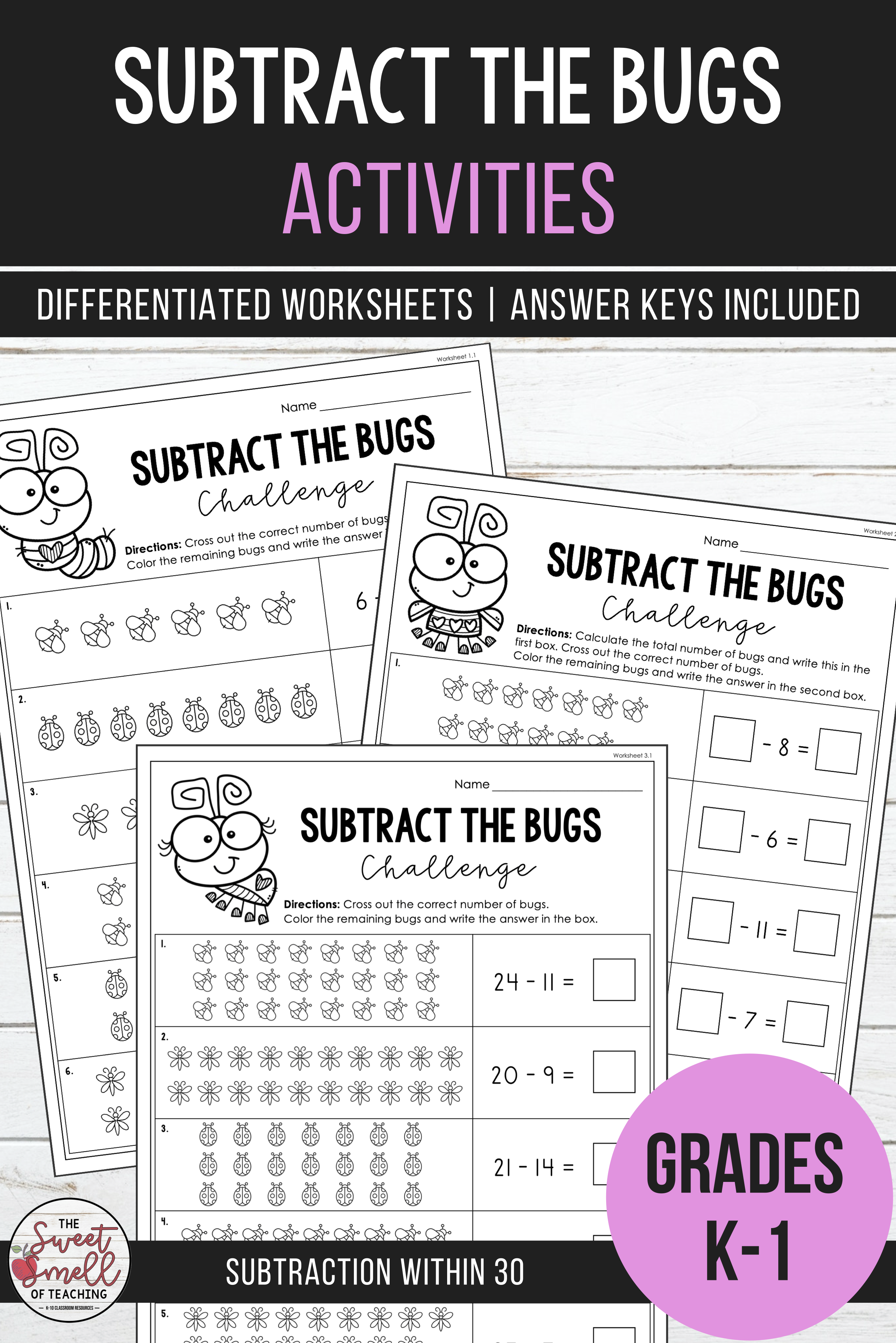 Subtraction Within 30 Subtract The Bugs Challenge Differentiated Worksheets Math Facts Math Fact Fluency Kindergarten Math Activities [ 3902 x 2603 Pixel ]