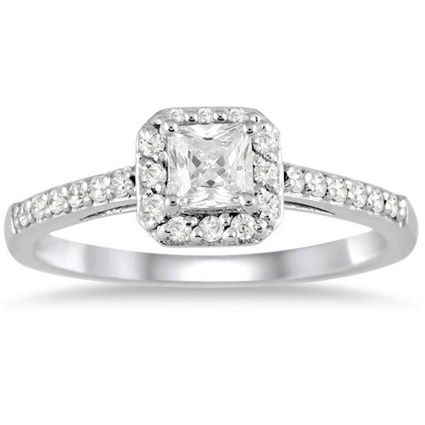 o0o0 i like!!    1/2 carat Princess Halo Engagement Ring in 10K White Gold - RGF1241010.0