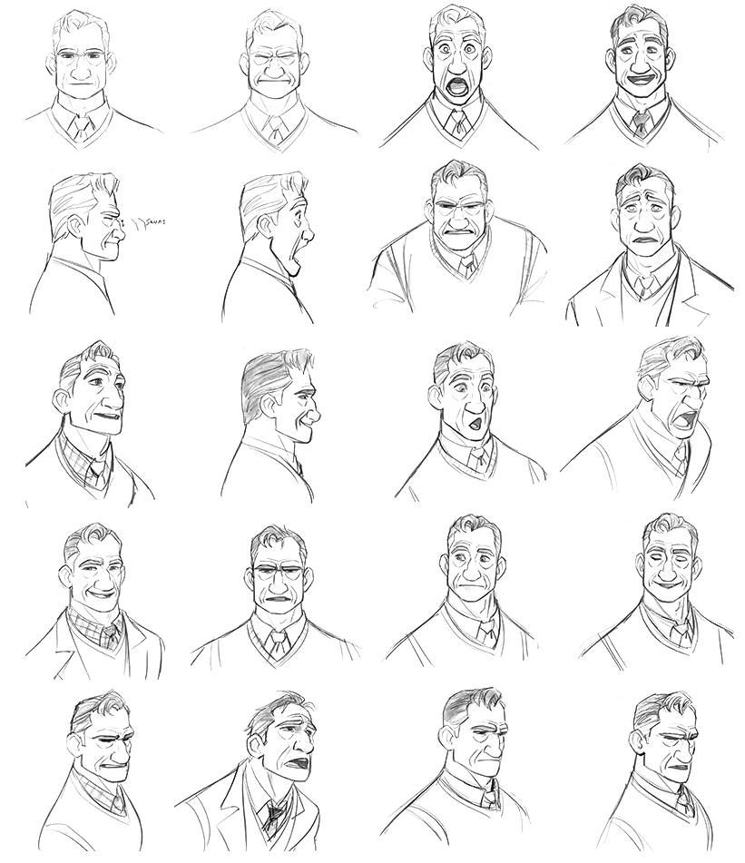 """Character Design References Challenge Rules : """"professor robert callaghan by jin kim expressions sheet"""