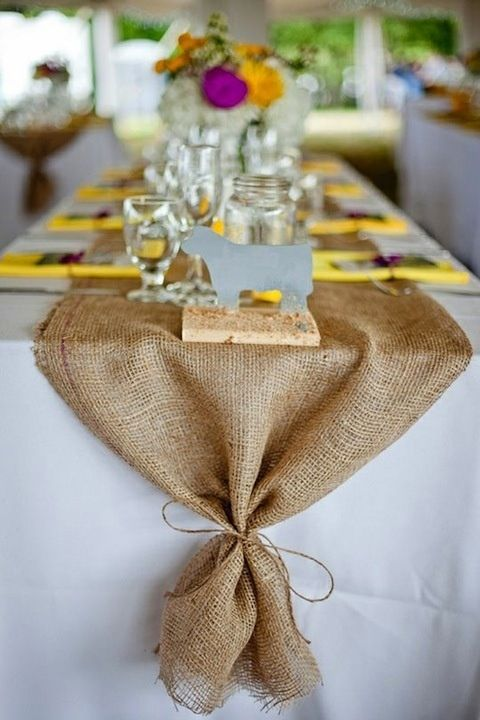 White Table Cloth With Burlap Runner Party Ideas Wedding