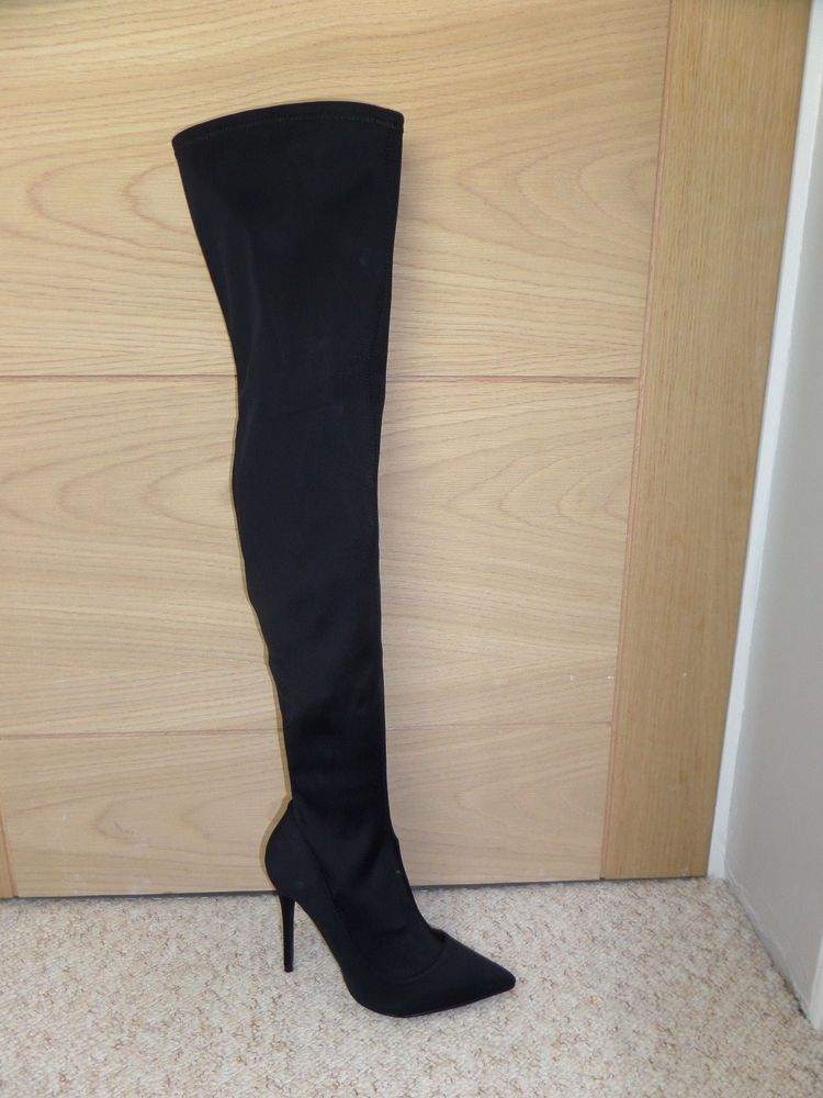 5b077cd02e9 NEW BLACK TOPSHOP BELLINI STILETTO THIGH HIGH OVER THE KNEE DRESS BOOTS UK  7 40