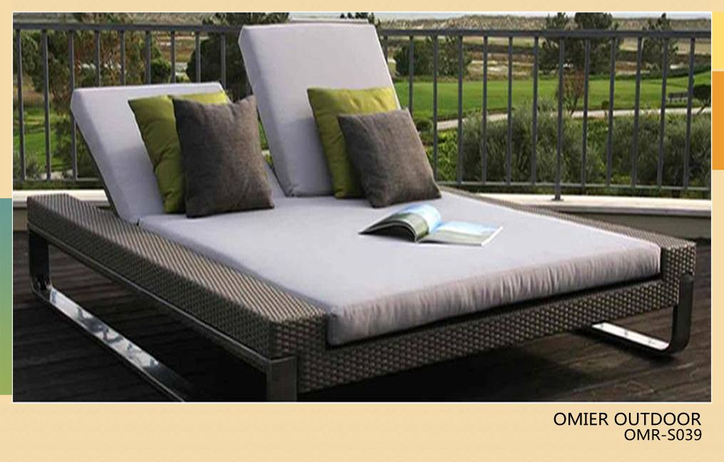 Luxury Modern Outdoor Double Sun Bed Rattan Sun Lounger Furniture