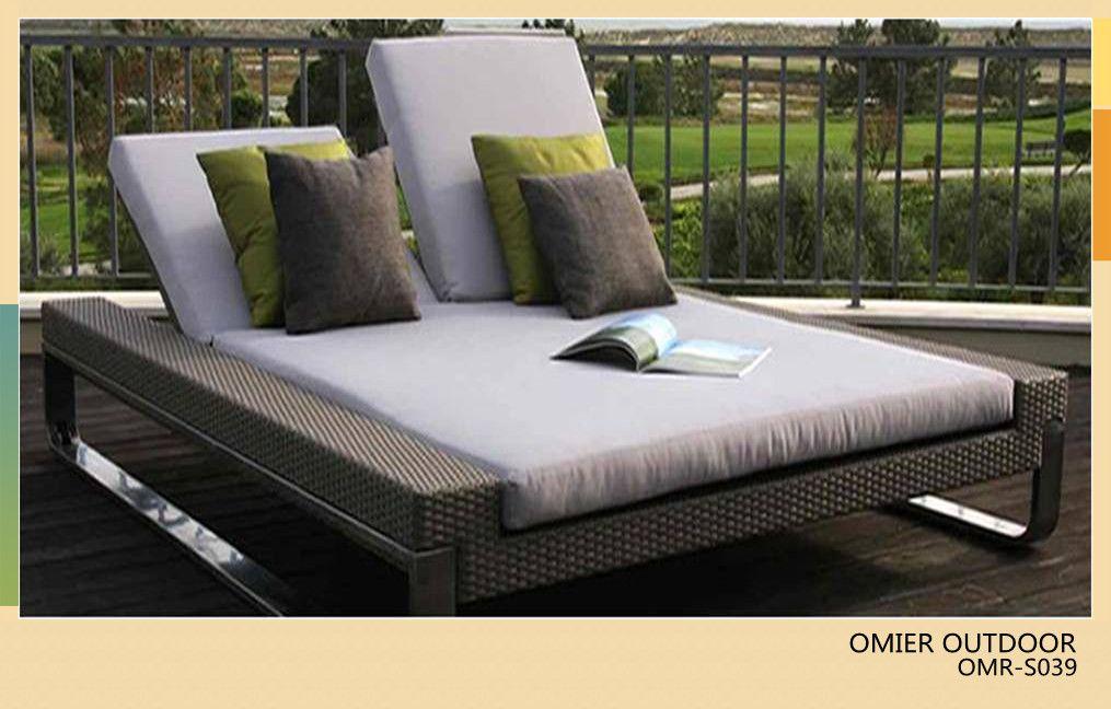 Luxury Modern Outdoor Double Sun Bed Rattan Sun Lounger Furniture OMR S039    OMIER RATTAN