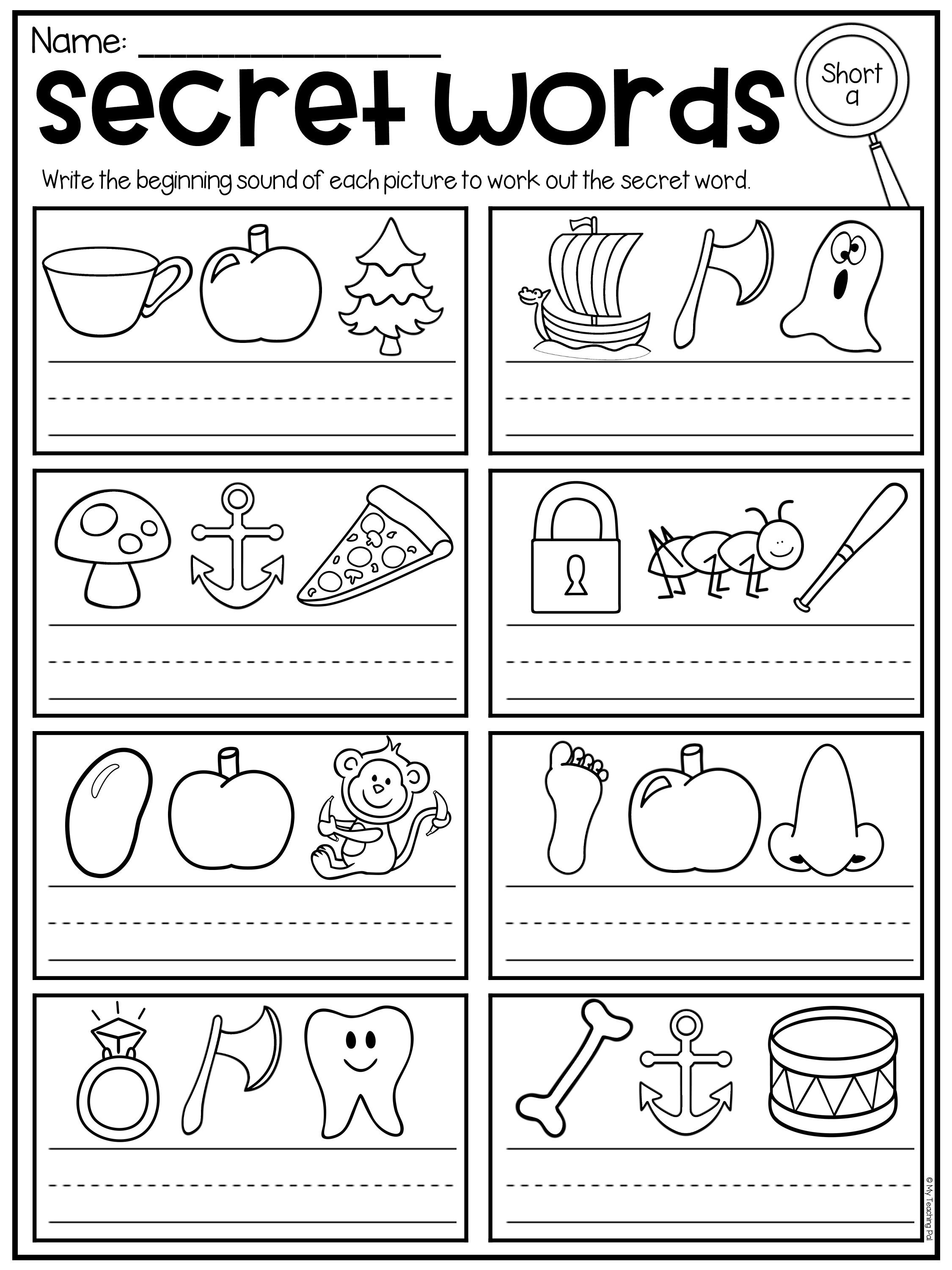 Secret Words Worksheets