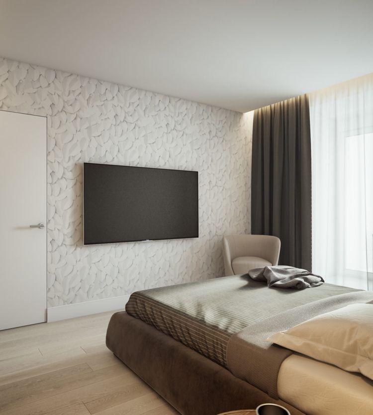 Weiss Grau Beige Schlafzimmer Fernseher Bett #dream #house