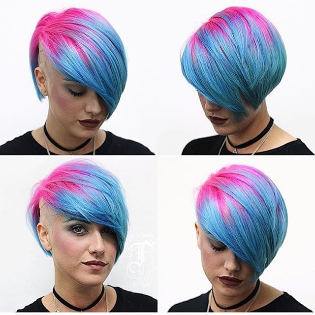 Vibrant Pink And Blue Color Design And Sassy Short Haircut By