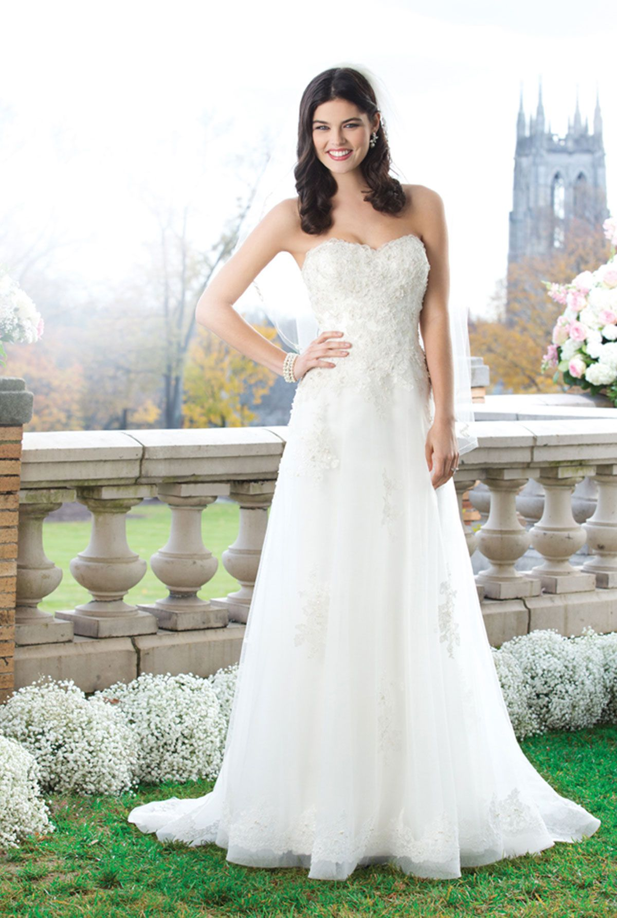 Sincerity serena this gown has a beaded lace and tulle sweetheart