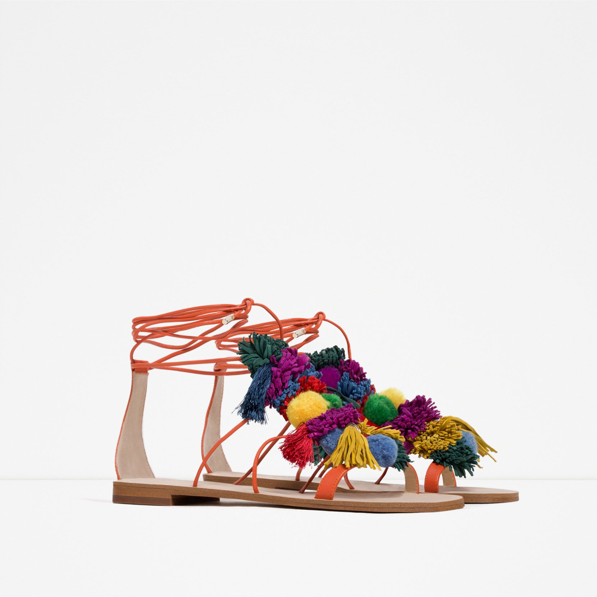 ZARA Pompom Leather Sandals